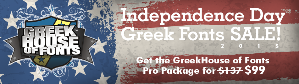 Independence Day Greek Fonts Sale