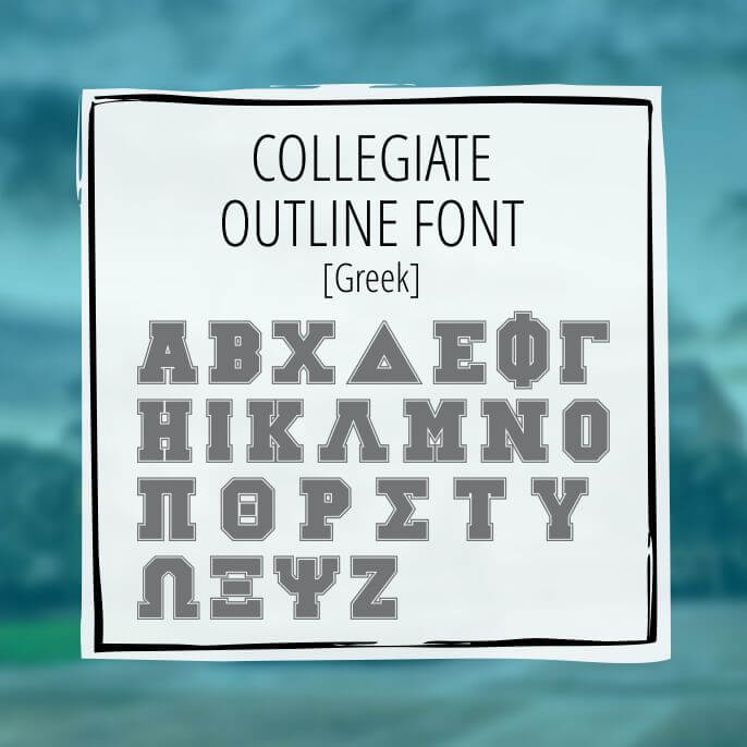 Sample English Lettering Collegiate Outline 2