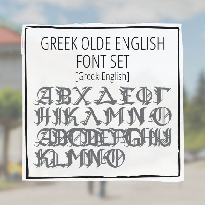 Sample Lettering Greek Olde English Font Set