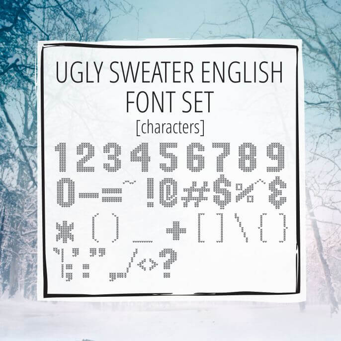 Sample Lettering Ugly Sweater Characters