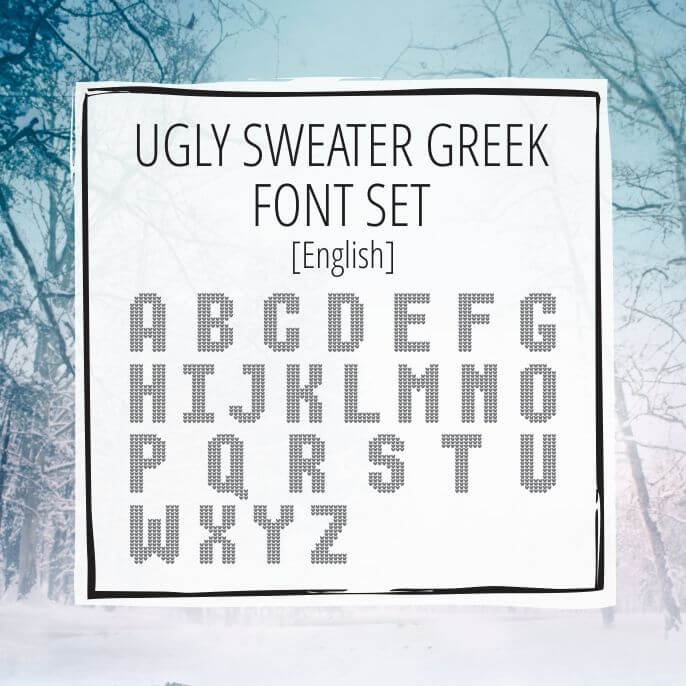 Sample Lettering Ugly Sweater English Uppercase