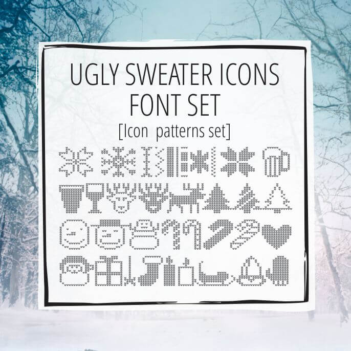 Sample Lettering Ugly Sweater Icons